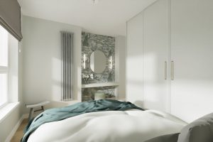 Projekt stylowej sypialni z toaletką w mieszkaniu w Warszawie