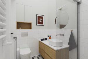 Projekt białej łazienki w mieszkaniu na warszawskiej Pradze