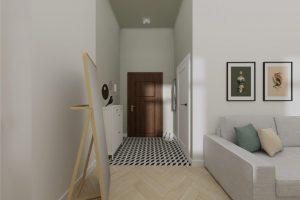Projekt przedpokoju w mieszkaniu na warszawskiej Pradze