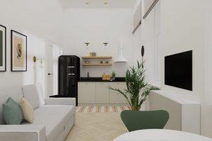 Projekt salonu z kuchnią w mieszkaniu na warszawskiej Pradze