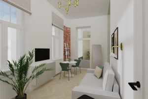 Projekt salonu w mieszkaniu na warszawskiej Pradze
