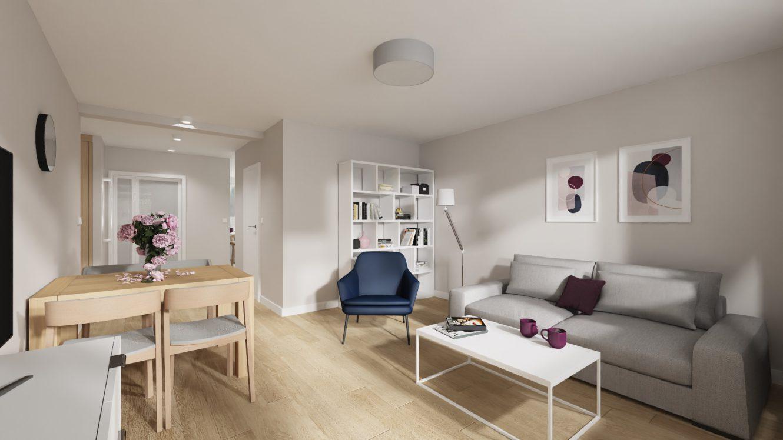 Projekt kobiecego salonu w mieszkaniu w Warszawie