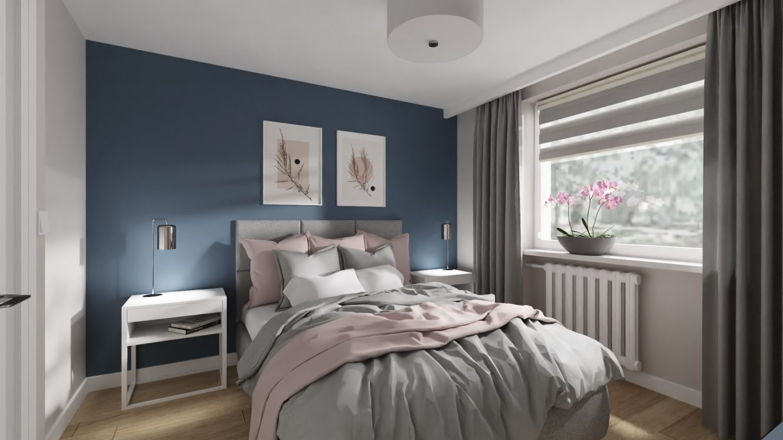 Projekt kobiecej sypialni w mieszkaniu w Warszawie