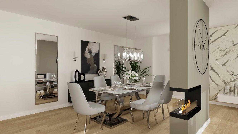 Projekt stylowej jadalni w mieszkaniu w Warszawie