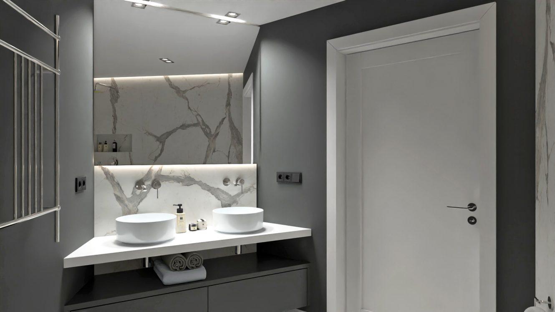 Projekt stylowej łazienki przy sypialni w mieszkaniu w Warszawie