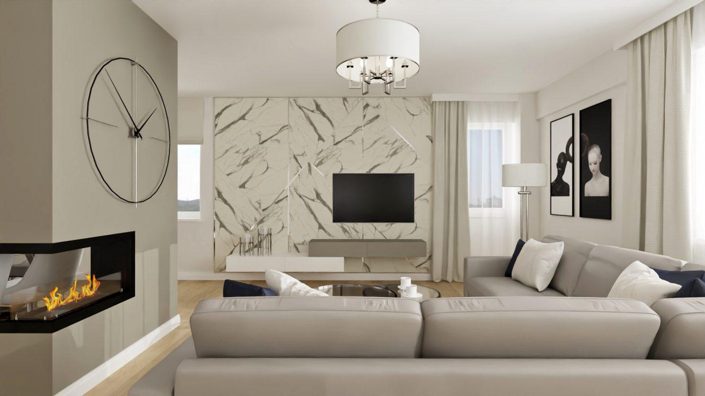 Projekt stylowego salonu w mieszkaniu w Warszawie