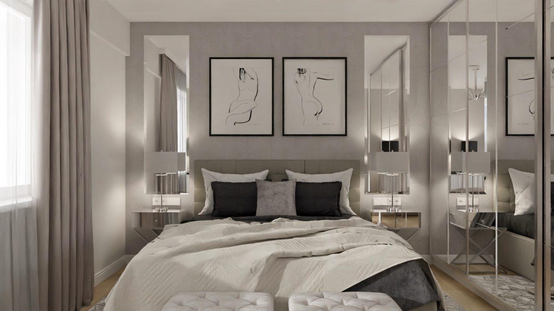 Projekt stylowej sypialni w mieszkaniu w Warszawie