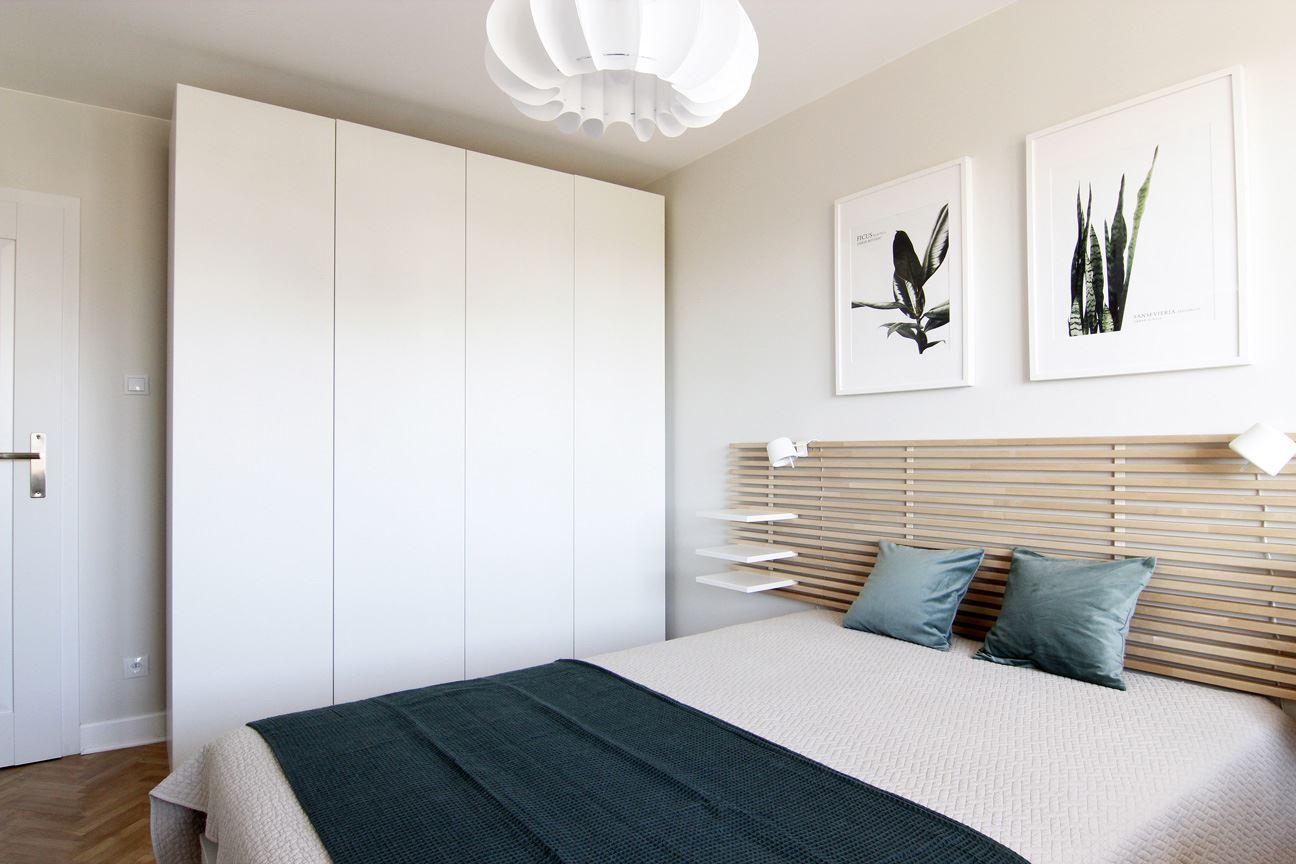 Home staging sypialni w mieszkaniu w Warszawie